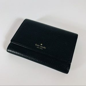 Kate Spade Trifold Black Pebble Leather Wallet